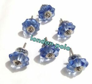 Blue Melon Kitchen Cabinet Door Pulls Knobs 6 Pcs Antique Handcrafted Glass