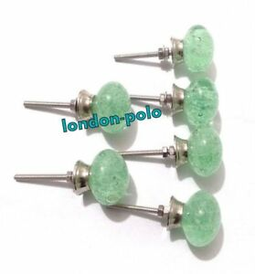 Green Bubble Handcrafted Set Of 6 Pcs Glass Sea Kitchen Cabinet Door Pulls Knobs