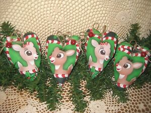 4 Handmade Christmas Rudolph Reindeer Fabric Hearts Ornaments Country Home Decor