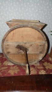 Antique Primitive 1880 Hand Crank Wood Barrell Butter Churn Country Farm Works