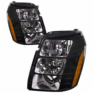 Cadillac Escalade 2010 2011 2012 Pair Black Hid Headlights Head Lamps Lights