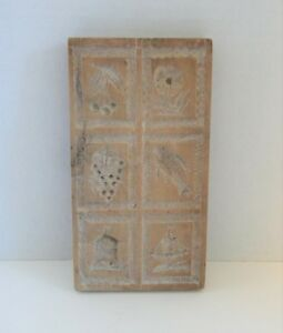 Antique Wood Carved Cookie Press Butter Mold Fish Ship Berries Flower