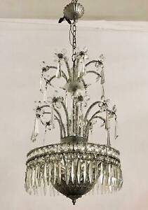 Vintage Italian Beadead Crystal Chandelier With Decorative Murano Flowers