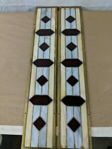 Stained Glass Panels Set Pair 5 75 X33 White Light Blue Brass Antique Lead