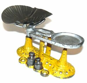 Antique Yellow Cast Iron Balance Scale Toy With Tin Pan Weights