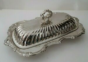 Vintage Leonard 3pc Silver Plated Steel Covered Glass Insert Butter Dish
