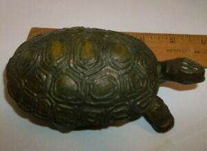 Vintage Brass Turtle Trinket Box Matchbox Ash Tray Hinged Lid Unmarked 5 25 In