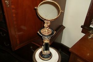 Vintage Gold Color Vanity Dresser Swivel Mirror Rose Ornate With Rare Stand