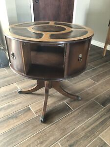 Vintage Round Leather Top Inlay Mahogany Drum Table 350 Free Shipping