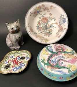 Lot Of 4 Antique Chinese Cloisonn Canton Enamel Bowl Round Ink Box Cat Tray