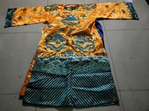 Vintage Chinese Handcraft Embroidery Dragon Imperial Robe Dragon Robe Long Gown