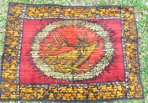 Antique Victorian Mohair Carriage Blanket With Stag Head 44 By 62 Inches