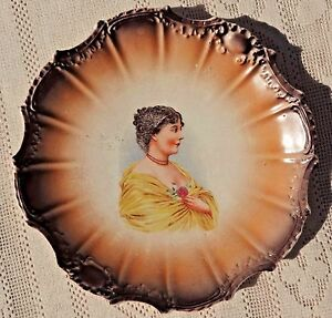Antique Pre 1904 East Palestine Pottery Co Decorative Porcelain Portrait Plate