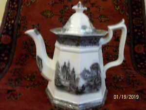 Reduced Price Antique Flow Black Mulberry Ironstone Teapot 1800 S