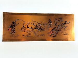 Vintage Etched Copper Plate Men Hunting Buffalo Scene Wall Art