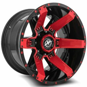 22 Xf Off Road Wheels Xf 214 Gloss Black Red Inserts With Rbp Tires Package