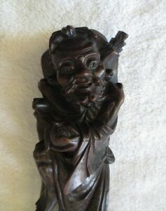 Chinese Antique Wood Carving Qing Dynasty Eight Immortals Inlaid Silver Wire L