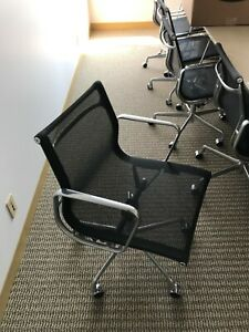 Herman Miller Charles Eames Ea335 Aluminum Group Management Chair Black Mesh