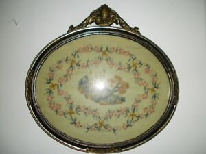 Antique 19th Century Castle In Needlepoint Petite Point Oval 18 X 18