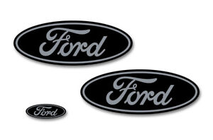 Ford Oval Badge Emblem Logo Overlay Sticker Decal Set For Ford F150 15 18 Gry Bk