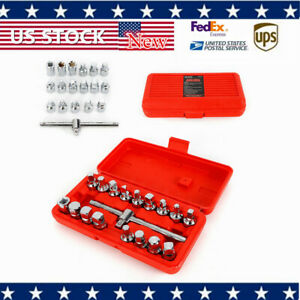 18x Oil Drain Sump Plug Key Socket Set Gearbox And Axel Removal Wrench Tool Kit