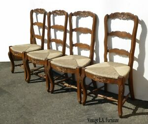 Four Vintage French Country Oak Ladderback Rush Dining Room Chairs