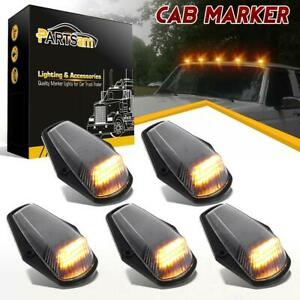 5xclear yellow 12 Led Cab Marker Roof Clearance Lights Black Base For 73 97 Ford