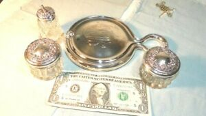Antique Alvin Sterling Silver And Glass Vanity Set W Mirror Old Mark 1860 S