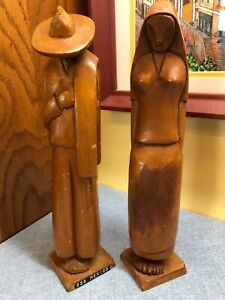 Hand Carved Peasant Man Woman Lightweight Wood Figurines 10 Mexico