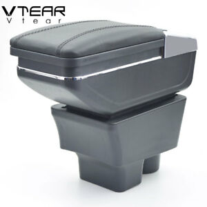 Vtear For Skoda Fabia Armrest Box Pu Leather Central Store Content Box 2008 2014