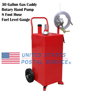 30 Gallon Gas Caddy Fuel Diesel Storage Transfer Tank Hard Hose Fuel Level Gauge