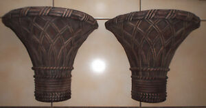 Set Of 2 Very Large Bamboo Design Corbels Sconces Shelves 6 5x11x12 5 Vg Cond