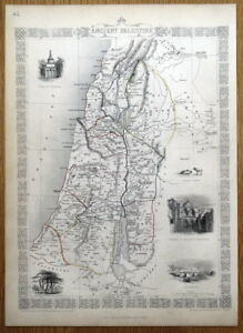 Ancient Palestine Israel Holy Land Rapkin Tallis Antique Map 1851