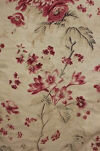 French Antique Fabric 1850 Faded Chintz Floral Design Printed Material 2 77 Yard