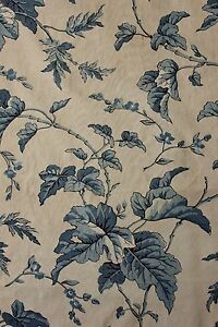 Chintz Fabric Block Printed C1850 Antique French Blue White Woodblock Print