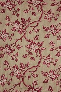 Chintz Fabric Antique Printed Cotton C 1830 Pink Floral Rare Design 3 27 Yards