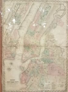Hand Colored Map Of New York City With Brooklyn Central Park Colton 1873
