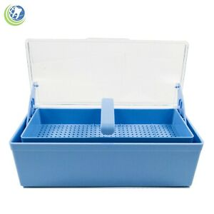 Germicide Tray Cold Sterilization Dental Medical Tattoo Instrument Case Blue