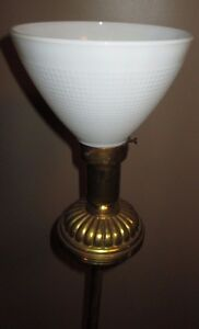 Vintage Mid Century Modern Brass Floor Lamp Glass Diffuser No Shade Torch