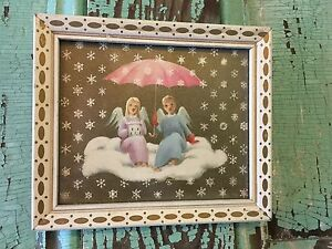 Vintage Angel Print Picture Photograph Wood Frame Shabby Cottage Chic