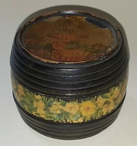 Kate Greenaway Design Vintage Victorian Antique Small Wood Sewing Box