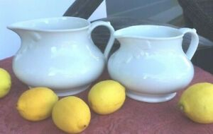 Antique French White Porcelain Pitchers