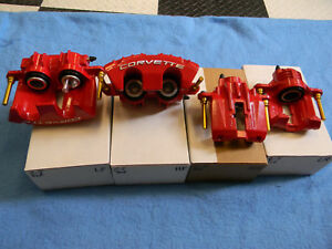 97 04 C5 Corvette Genuine Oem Red Brake Calipers Fronts Rear Remanufactured
