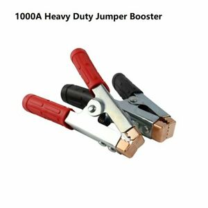 Pair 1000a Heavy Duty Battery Clips Booster Cable Jumper Clamp Fully Insulated