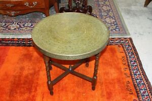 English Antique Oak Folding Base Barley Twist Small Round Brass Top Table