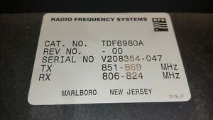 Celwave Radio Frequency Systems Rfs 800 Mhz Duplexer Tdf6980a Free Shipping