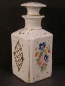 1800s Sevres French Old Paris Porcelain Hand Paint Flower Perfume Cologne Bottle