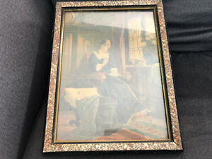Vintage Victorian Print Wooden Spongeware Picture Frame Lady Baby Knitting