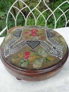 Victorian Needlepoint Bead Work Round Foot Stool Original Condition Circa 1870