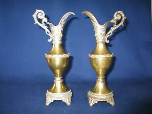 Pair Pitchers Ewers Antique Victorian Brass Spelter In Very Good Condition